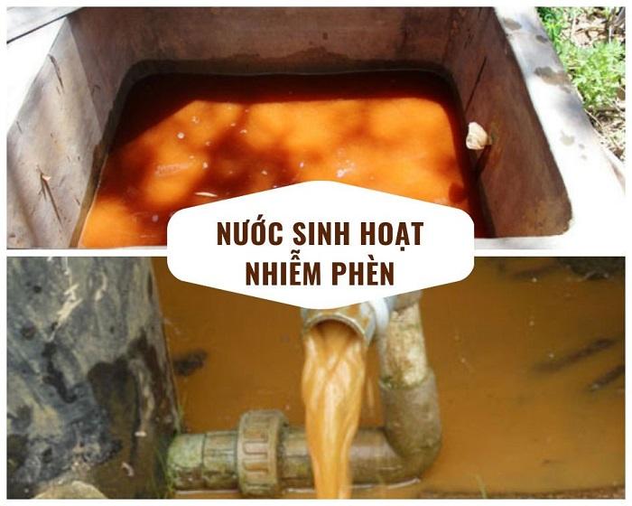 Nước sinh hoạt bị nhiễm phèn
